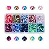 Airssory 1800 Pcs 10-Colors Acrylic Faux Pearls Imitation Pearl Half Round Cabochons Dome Slime Charms for DIY Jewlery Scrapbooking Embellishments Craft Making - 6x3mm