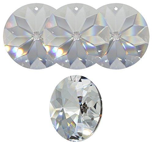 4x Kristall Sonne ø 40mm Hoch Brillant Regenbogenkristall Feng Shui Fenster-Deko Facettenreich Sonnenfänger Suncatcher