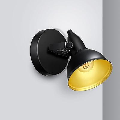 Unikcst Applique murale vintage - Rétro - 1 ampoule - Lampe murale LED réglable - E14 - Noir - 230 V - 35 W - Pour chambre à coucher, salon - Sans ampoule