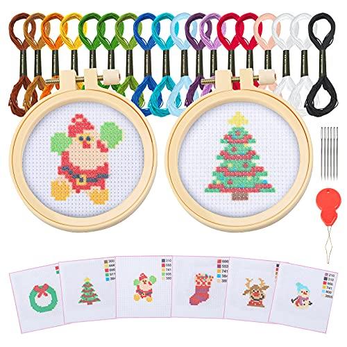 Kit de bordado con 6 patrones redondos, ajustables, herramienta de bordado con 2 piezas de bambú, hilo de color, para manualidades, costura (Navidad)
