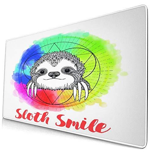Großwild-Mauspad,Regenbogen farbiges Hintergrundbild mit skizzenhaftem glücklich lächel,Rutschfester Schreibtisch-Pad-Schutz,Schreibtisch-Schreibmatte für Desktop,Computer-Laptop,15.8