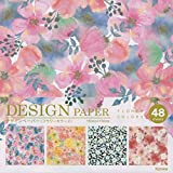 Beautiful Japanese Origami Paper (a.k.a. Chiyogami), Each Contains Four Different Designs, Made in Japan (Flower Colors 48sheets)