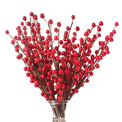 Joyhalo 17.7inches/45cm Christmas Red Berries Stems Artificial Berry Picks for Christmas Tree Ornaments Crafts Holiday Home Decor, 24pack