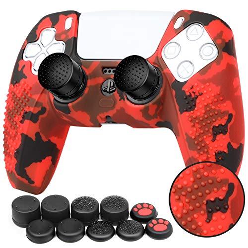 ZtotopCase Cover Skin in Silicone Antiscivolo per Controller PS5 Grip Skin x 1 (Camouflage Rosso) con Attacchi PRO FPS Gommini Joystick Thumb Grip Attacchi x 10 (5 Paia)