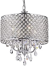 EDVIVI Marya Drum Crystal Chandelier Ceiling Fixture  4 lights Glam Lighting Fixture with Chrome Finish  Adjustable Ceiling Light with Round Crystal Drum Shade  Living room, Dining, Bedroom.
