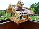 Arbrikadrex Almhütte XXL Futtersilo Futterhaus Schreinerware Holz Vogelfutter Vogelhaus Vogelvilla Vogel Futterspeicher (Almhütte XXL Braun)