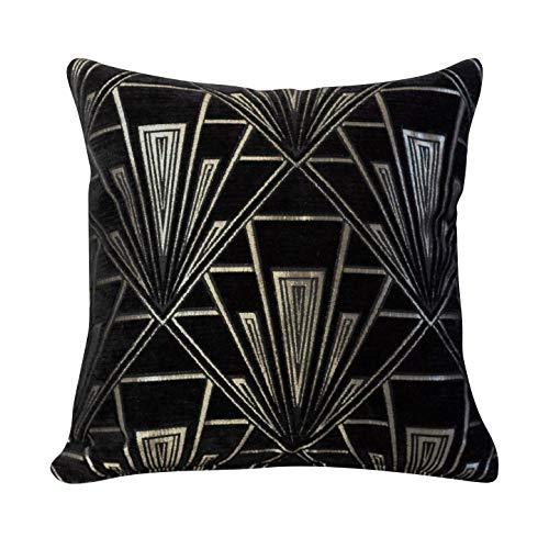 Funda de cojín Art Deco. Chenilla de terciopelo de doble cara. Diseño retro negro y plateado. Almohada cuadrada de 17 x 17 pulgadas. Diseño geométrico atrevido. Estilo 20s y 30s.