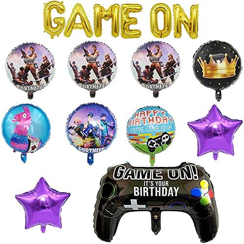 FGen Artículos de Fiestas para Fanáticos de los Videojuegos, Decoraciones para Cumpleaños de Tema de Videojuegos, con Bandera de Globo, Globos de Papel de Aluminio para Fiestas (11 PCS)