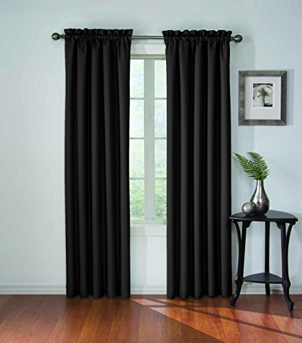 ECLIPSE Blackout Curtains for Bedroom - Corinne Insulated Darkening Single Panel Rod Pocket Window Treatment, Living Room, 42' x 63', Black