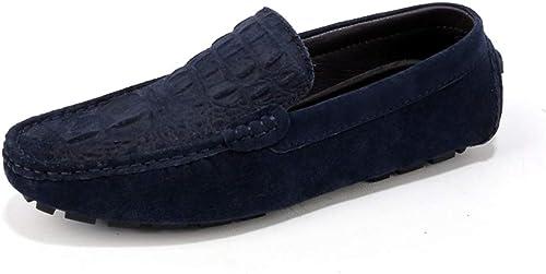 XIANGBAO-Personality Mocassins De Bateau De Couleur Pure pour Mocassins De Bateau pour Hommes Slip on Style Suede Leather Fine Texture (Couleur   Bleu, Taille   43 EU)
