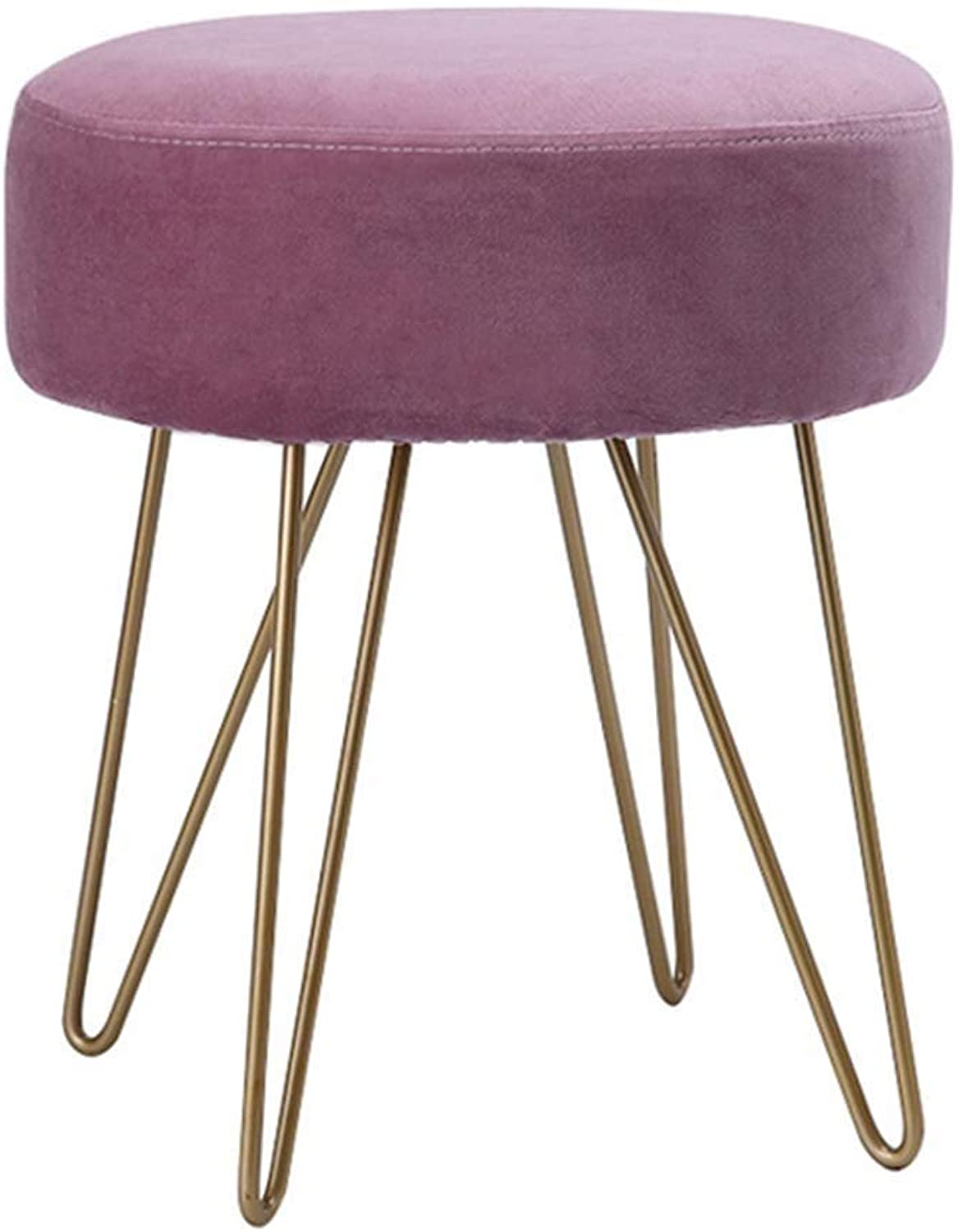 YJLGRYF Home Footstools Round Creativity Coffee Table Stool European Style Design Makeup Stool(13.7x13.7x15.7 Inches) (color   Purple)