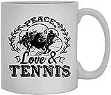 Amor de la paz y tenis taza de café taza de té taza de café grande 11 onzas