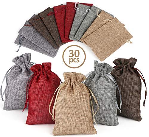 ilauke - 30 sacchetti in tela di iuta, 5 colori, bustine in lino di canapa con nastro di raso, sacchetto di lino riutilizzabile, per matrimoni, gioielli, Natale, feste, bricolage (10 x 15 cm)
