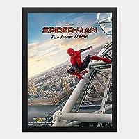 ハンギングペインティング - スパイダーマン ファーフロムホーム マーベル 2のポスター 黒フォトフレーム、ファッション絵画、壁飾り、家族壁画装飾 サイズ:33x24cm(額縁を送る)