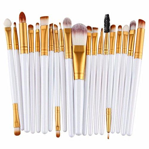 Cosanter 20er Set Make-up Kosmetik Pinsel-Set Auge Lidschattenpinsel Powder Foundation Wimpernbürste Pinsel für Damen Mädchen, Plastik, Gold Weiß