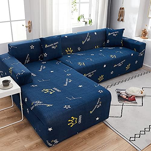 ASCV Moderne elastische Sofabezüge Chaiselongue für Wohnzimmer Verstellbare Polyester-Schnittsofa Schonbezug A14 4-Sitzer