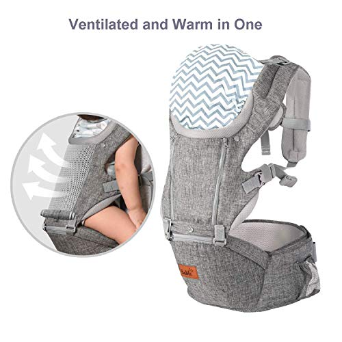 Bable 6-in-1 Baby Carrier with Hip Seat, 360 Ergonomic Front and Back Baby Carrier with Nursing Cover for Newborn to Toddler (8-33 lbs),Baby Wrap Carrier, Mesh for All Seasons - Misty Grey