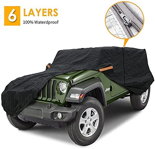 Big Ant Telo di copertura per auto, 100% impermeabile, per Jeep Wrangler 2 porte, Jeep copertura auto per CJ, YJ, TJ e JK 2 porte con cerniera (nero)