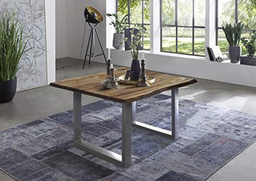 SAM Esszimmertisch 80x80 cm Quintus, echte Baumkante, Baumkantentisch naturfarben, massiver Esstisch aus Akazienholz, U-Metallgestell Silber