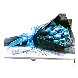Dozen Blue Fake Rose Scented Wooden Flowers Artificial Roses With Stems Flower Bouquet With Refresher Spray In Box