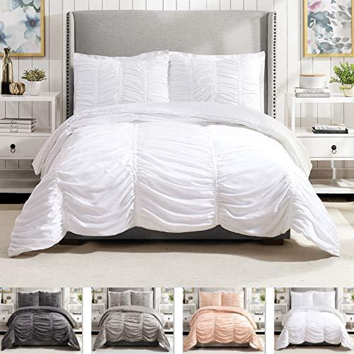 Modern Heirloom Collection Emily Texture Comforter Set, Full Queen, White