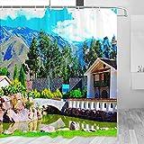 Perú Valle Sagrado Cortina de Ducha Viaje Decoración de Baño Set con Ganchos Poliéster 72x72 Pulgadas (YL-04641)