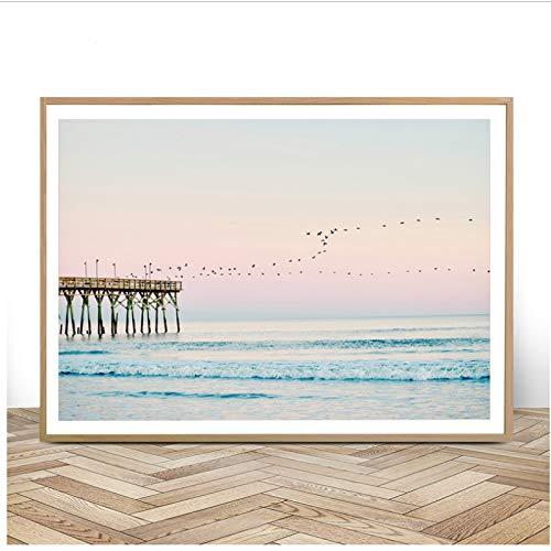 Pastell Strand Drucken Ozean Wandkunst Leinwand Malerei Sonnenuntergang Coastal Decor Moderne Landschaft Poster Wandbilder 50x70 cm Kein Rahmen