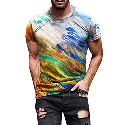 Masrin Herren T-Shirt Mode Fantasy Star Sky Motiv Tops 3D-bedruckter Pullover Rundhalsausschnitt Kurzarm Streetwear Slim Tunika Bluse(M,Beige)
