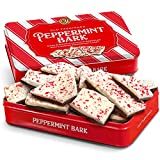 Traditional Layered Dark and White Chocolate Peppermint Bark in Gift Tin