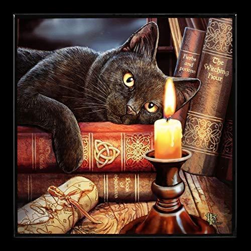 Lisa Parker Fantaisie Brillant Tableau avec Chat sur Magic Book Couché - Witching Hour Impressions...