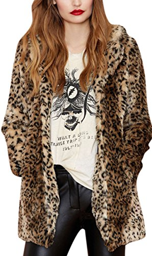 Women's Sexy Winter Faux Fur Coat Leopard Printed Mid-Length Lapel Jacket with Pockets S Black