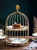 2-stöckiges Teller-Set mit goldenem Edelstahl-Rahmen, Etagere (Gold)