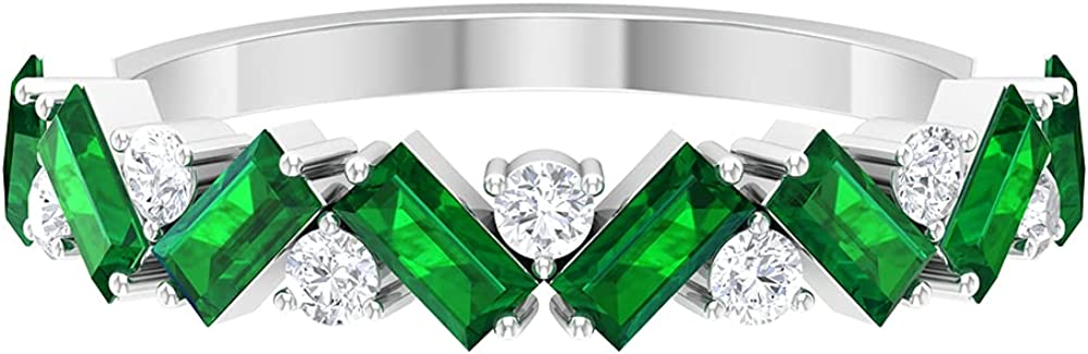 1.25 CT Baguette Cut Created Emerald Half Eternity Ring with Diamond (AAAA Quality),14K White Gold,Diamond,Size:US 11.50