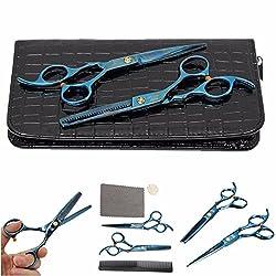 KING DO WAY Professional Hair Cutting Scissors Set Hair Scissors Hairdressing Scissors With Carpet, Scissors, Blue Comb