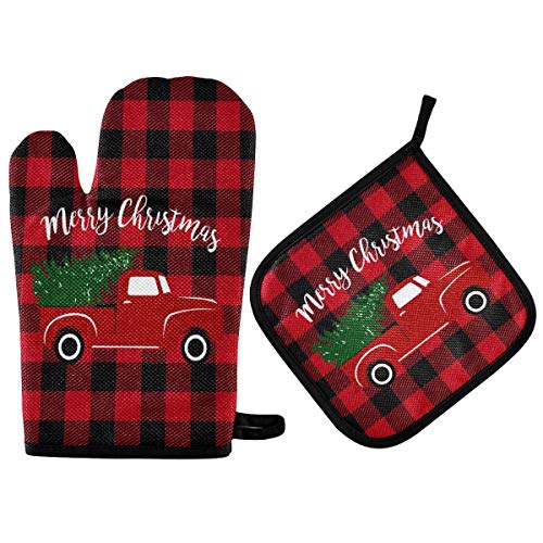 Merry Christmas Red Truck Buffalo Plaid Oven Mitts and Pot Holders Sets Heat Resistant Non Slip Winter Xmas Tree Oven Gloves Hot Pads Insulated Washable for Cooking Baking BBQ Decorative Kitchen Gift
