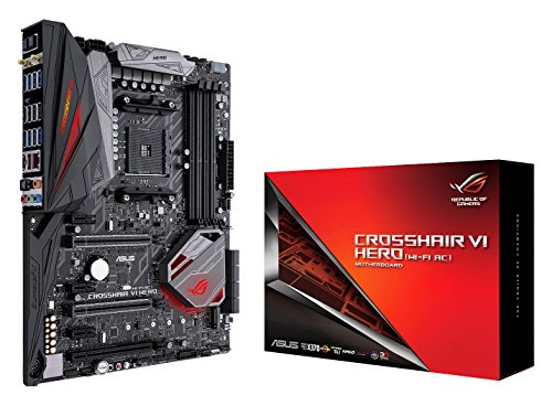 ASUS ROG Crosshair VI Hero (WI-FI AC) AMD Ryzen AM4 DDR4 M.2 USB 3.1 ATX X370 Motherboard with onboard 802.11AC WIFI and AURA Sync RGB Lighting