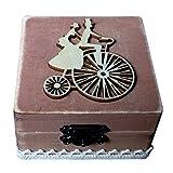 joyMerit Ich Mache Quadratische Hölzerne Ring Schmucksache Geschenk Kasten Rustikale Hochzeits Verlobungs Trinket - Fahrrad 8 x 8 x 8 cm