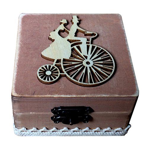 Caja de Madera de Anillos de Novios Sostenedor de Anillo de Ceremonia de Boda Caja de Joyería con Musgos Secados Removibles - Bicicleta con Novios