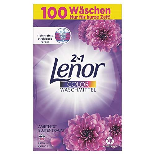 Lenor Color Waschmittel Pulver, Waschpulver, 100 Waschladungen, Amethyst Blütentraum (6.5 kg)