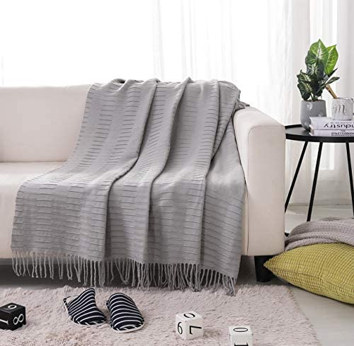 PHF Knit Throw Blanket for Travel Picnic Beach Soft Chunky Cozy Fringed Warm Acrylic Texture product image