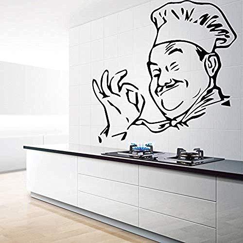 Creative Chef Figur Wandaufkleber Von Herd Dekoration Zubehör Wandgestaltung Aufkleber Aufkleber Vinyl Home Decoration 58X57Cm