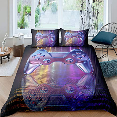 Games Bedding Set Boys Teen Bedroom Decor Gamepad Comforter Cover Set Videogame Controller Printed Purple Duvet Cover Player Gaming Sci-Fi Style Bedspread with Zipper Ties Gamer Soft Quilt Set, Double