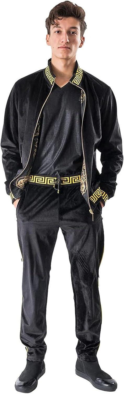 BARABAS Men's Casual Street Medusa Greek Pattern Loungewear JJ900 Black S