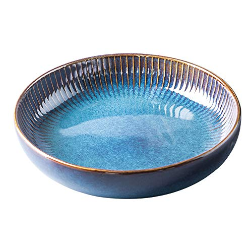 CSYY Pastateller aus Keramik, Groß Suppenteller Oder Speiseteller, Premium Porzellan 21cm Blau(1PCS)