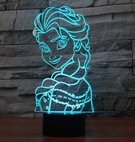 Elsa Hologramm 3d Lampe Nachttischlampe, Nachtlicht fürs Kinderzimmer, LED Lampe fürs Wohnzimmer