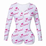 Women's Yes Daddy Onesie Sexy Deep V Neck One Piece Bodysuit Long Sleeve Print Bodycon Jumpsuit...