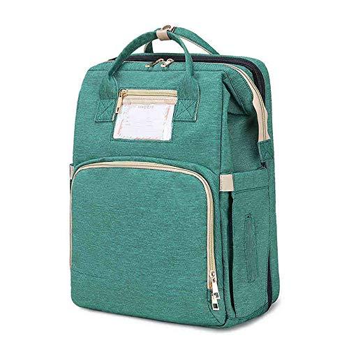 Cuna plegable de viaje 3 en 1, portátil, impermeable, cambiador de pañales, mochila para mamá, cuna de viaje, mamá ayudante de viaje, color verde