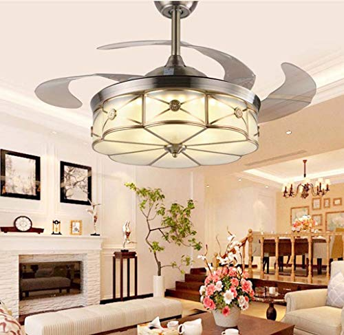 DC Wesley Ventilador de techo invisible Zhongshan de 42 pulgadas LED para restaurante, minimalista, moderno, moderno, venta de cristal, diámetro de 107 cm, 25 cm de alto