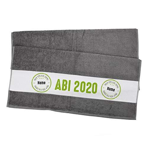 Herz & Heim® Badetuch zum Abi 2020-70 cm x 140 cm (B/H) - Reif für die Insel - mit Namen