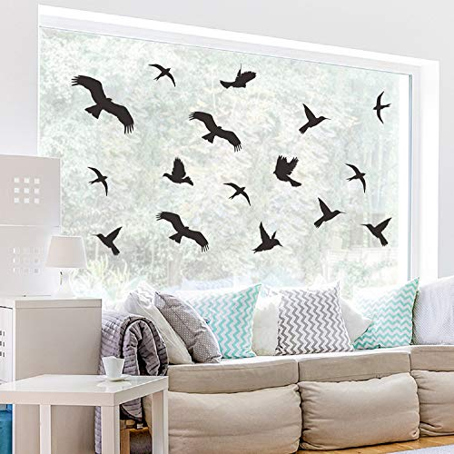WandSticker4U®- Fensteraufkleber 21 VÖGEL in SCHWARZ I 3X DIN A4 Vogel Aufkleber für Fensterscheiben I Warnvogel Fenster Vogelschutz I Windowsticker Vogelschlag Fensterschutz